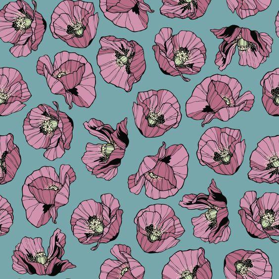 "Grafica di Insunsit: ""Papaveri rosa"" #pattern #thecolorsoup #papaveri #rosa #blu"