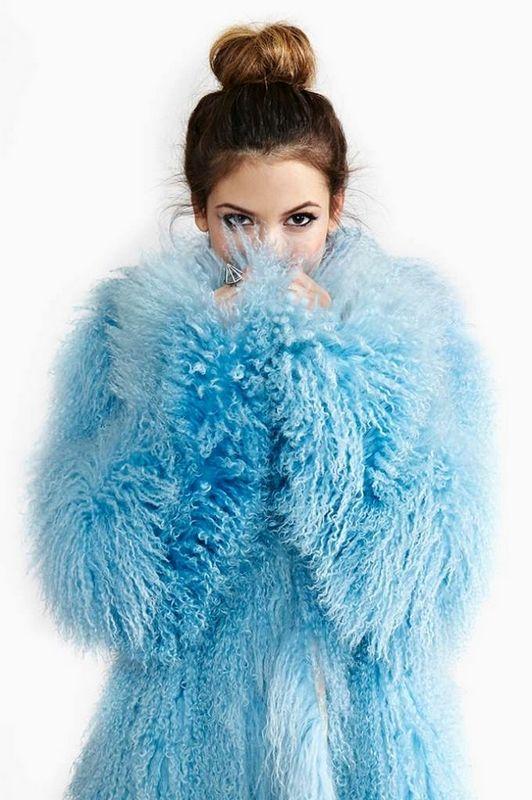 Navy Blue Faux Fur Coat