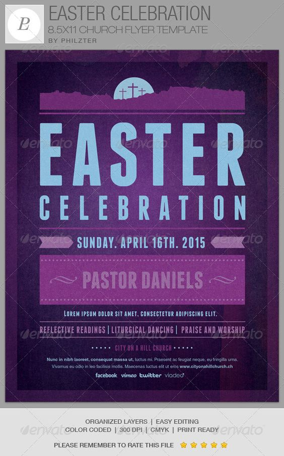 celebration church easter celebration and flyer template on pinterest. Black Bedroom Furniture Sets. Home Design Ideas