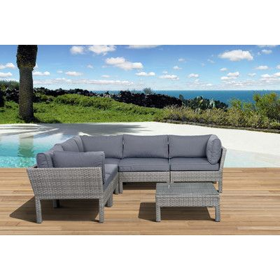 International Home Miami Pacific 6 Piece Deep Seating Group with Cushions