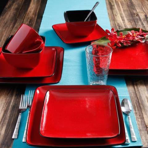 Bold Red Elegant Fine Dining Square Banquet 16 Piece Stoneware