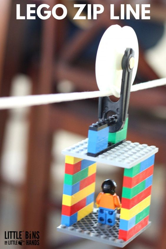 A cool LEGO zip line activity for kids and a great STEM challenge. Perfect boredom buster, screen free activity, or rainy day play. Our LEGO zip line is also a great physics lesson on angles, friction, motion, and force which also uses a simple machine, the pulley!