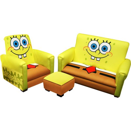 Walmart.com: Nickelodeon - SpongeBob SquarePants Deluxe Toddler Sofa, Chair and Ottoman: Kids' & Teen Rooms