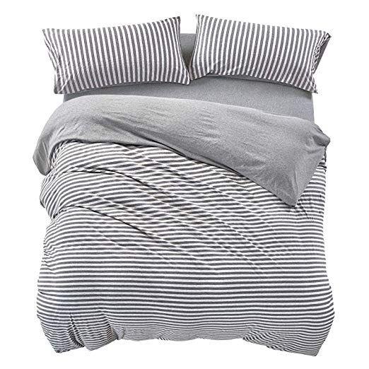 Pure Era Striped Duvet Cover Set Jersey Knit Cotton Soft Comfy 3