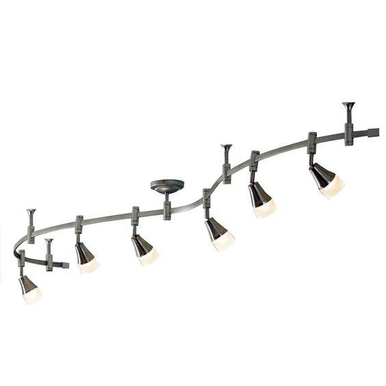 Led Track Lighting Lowes: Shop Allen + Roth 6-Light LED Brushed Nickel Decorative