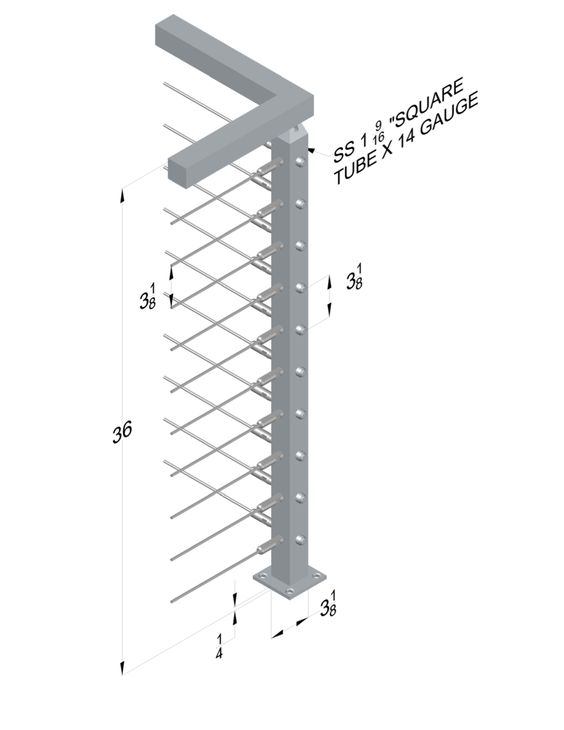 Stainless steel railing systems square corner post