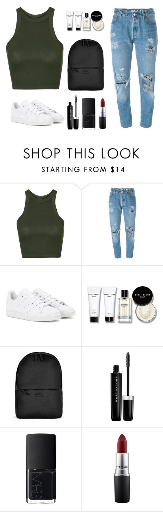 """""""x"""" by jdee10 ❤ liked on Polyvore featuring Topshop, Levi's, adidas, Bobbi Brown Cosmetics, Rains, Marc Jacobs, NARS Cosmetics and MAC Cosmetics"""