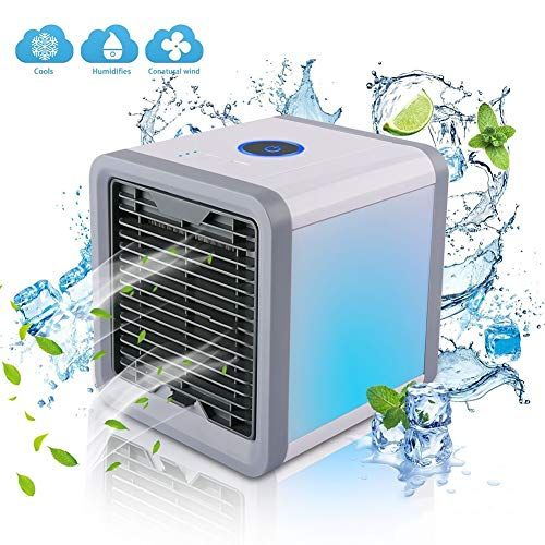 Air Cooler Mini Air Conditioner 3 In 1 Usb Portable Humidifier Purifier With 7 Colors Led Night The Qu Portable Air Cooler Air Conditioner Portable Cooler