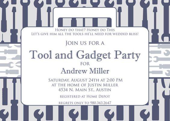 Tool and Gadget Shower- Custom Printable Invitation. $15.00, via Etsy.
