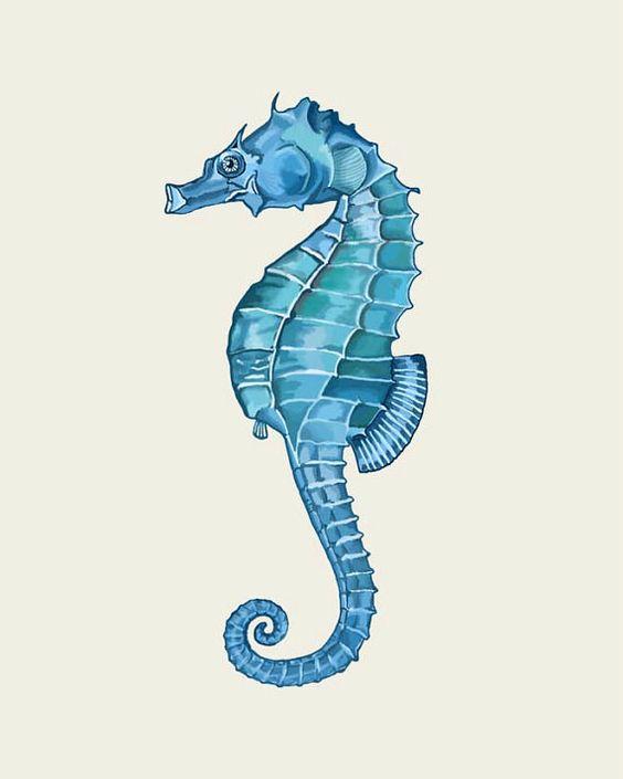 Seahorse Home Decor Wall Art Coastal Decor By Seashoresecrets: Blue Seahorse Print, Art Print Nautical Print Sea Beach