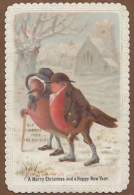 C12367 Bright Victorian Goodall Xmas Card: Anthropomorphic Robins: