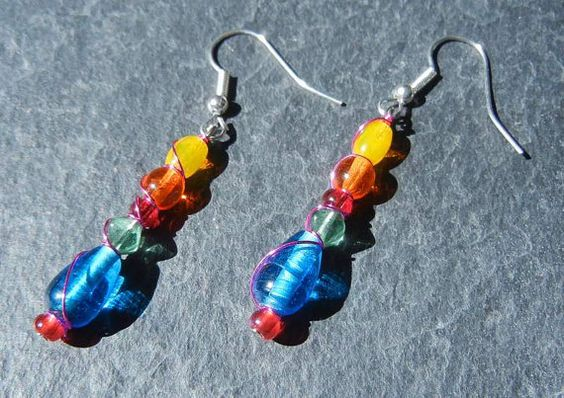 NEW...Colors of India Glass Bead Earrings Wrapped by KatCKsWraps, $12.00