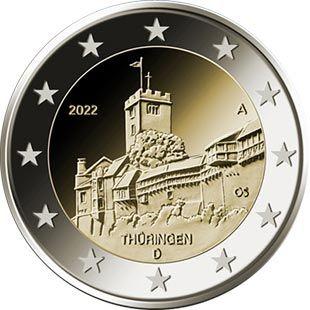 2 Euro Coin Thuringen Wartburg Castle In Eisenach Germany 2022 Mit Bildern Eisenach Thuringen Eisenach Germany