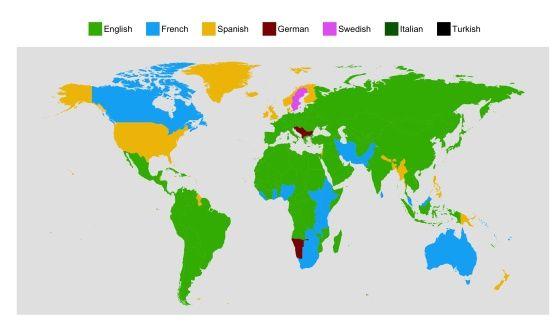 Assim é o mapa do mundo de acordo com os idiomas que estudamos