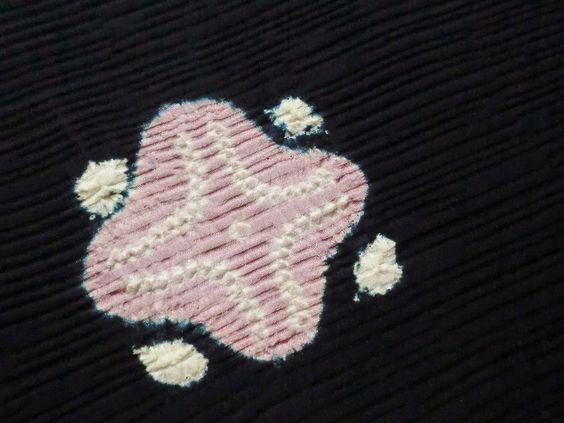 Japanese Vintage Kimono Haori Silk Navy Flower Shibori P051129 | eBay