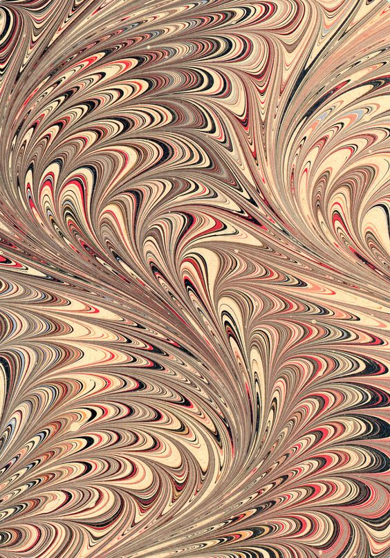 Modern 20th c. marbled paper, Serpentine on wide comb pattern