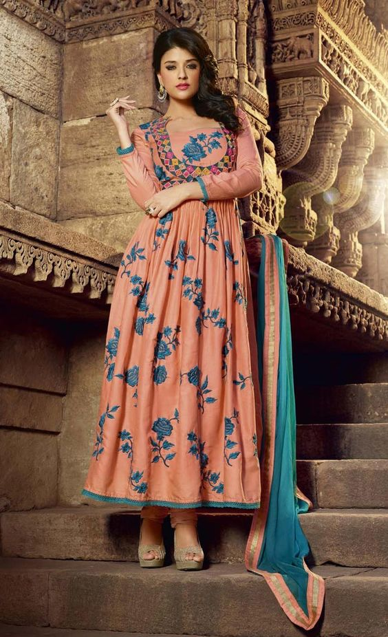 Peach Anarkali Salvar Suit In Cotton Satin Shop Online With