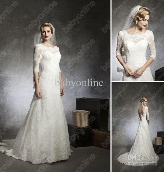 Wholesale 2013 Babyonline New Sexy Ivory White 3/4 Sleeves Backless Bridal Lace Bolero Wedding Dresses JA 8666, Free shipping, $152.6-169.05/Piece | DHgate