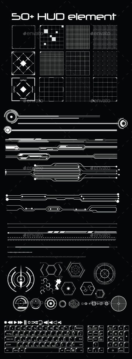 50+ Hud Element Pack Vector AI Illustrator. Download here…