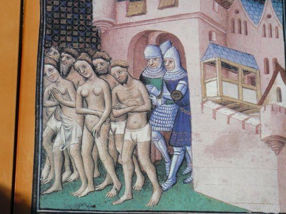 Representación de cátaros siendo expulsados de Carcassonne en 1209