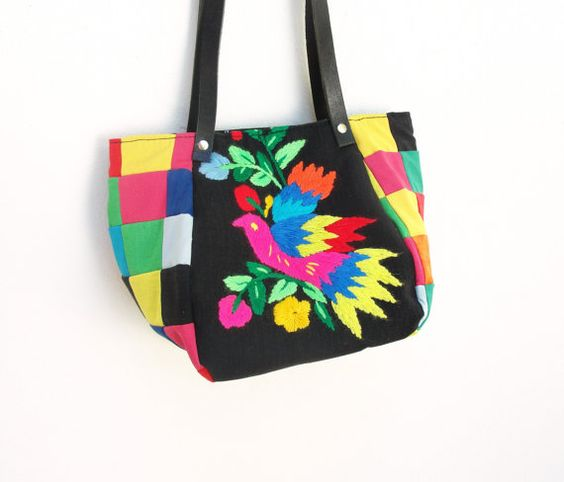 Rainbow Bird Bag  Vintage Embroidery Patchwork and by StarBags, $94.00