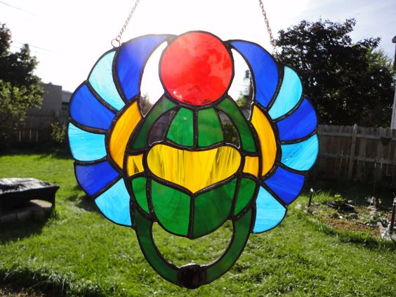 Egyptian Scarab Stained Glass with a Black Onyx Gemstone by LotusImmortal on Etsy