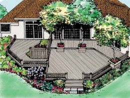 Deck with tree boxes