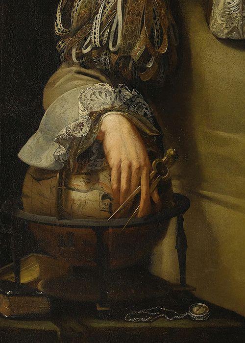Teodor Lubieniecki, Retrato de un hombre de ciencia (detalle), ca.  1670: