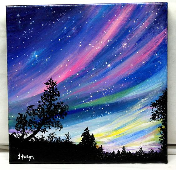 Reserved northern lights original acrylic by for Acrylic mural paints