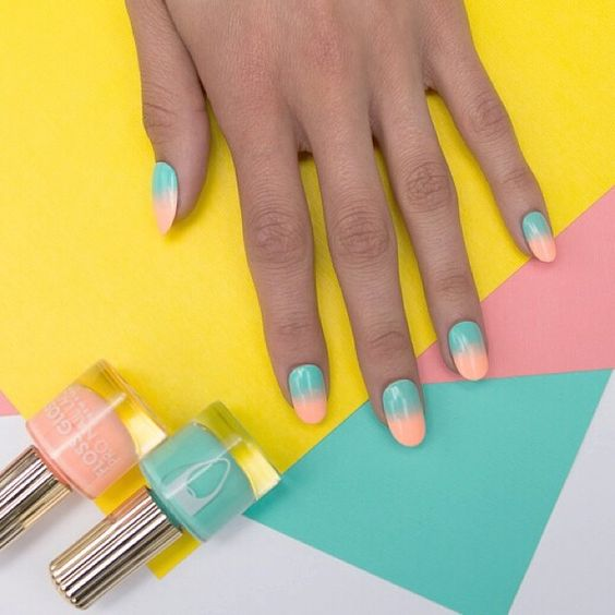 Perfect Summer Teal and Coral Ombre nails using Floss Gloss polish.