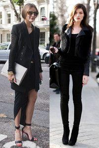全黑也能耍性感 黑色不代表沉悶,利用細節,像是緊身皮褲和繫帶高跟鞋等,或是不對稱的雪紡長裙,就能點綴出性感女人味。