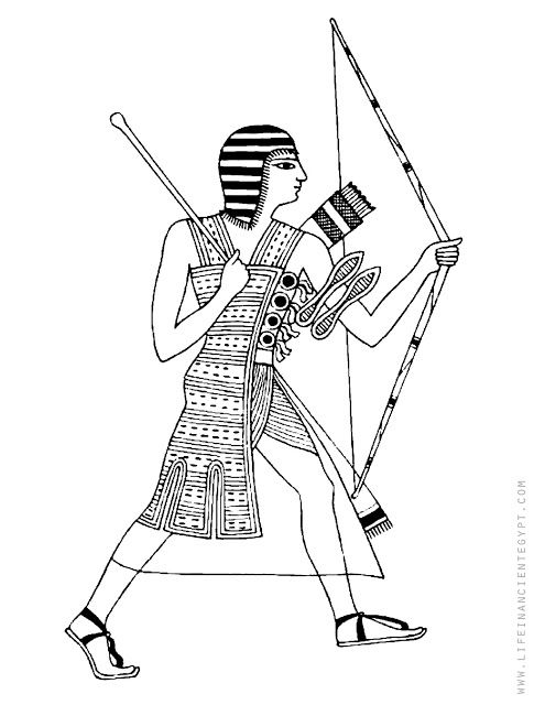Ancient Egypt Coloring Page With Egyptian Hunter With Bow And