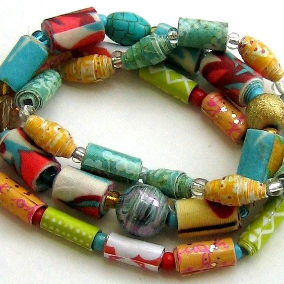 paper bead bracelet paper bead bangle fabric by tracyBdesigns