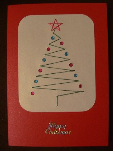 Hand Stitched Christmas Card With Rhinestones: