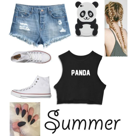 Summer outfit  by dafne-lopez123 on Polyvore featuring moda, H&M, Converse, blackandwhite, panda and summertime