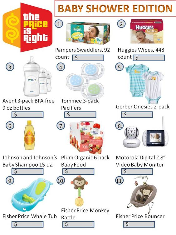 Baby Shower Game - The Price is Right92 pack pampers $24.99 448 count wipes $13.89 3 pack avent bottles $15.59 Tommee pacifiers $5.99 Gerber onesies $4.99 Baby shampoo $2.99 Plum 6 pack baby food $8.79 Baby monitor $179.99 Whale tub $19.99 Monkey rattle $4.99 Fisher price bouncer $59.99 Total $342.19