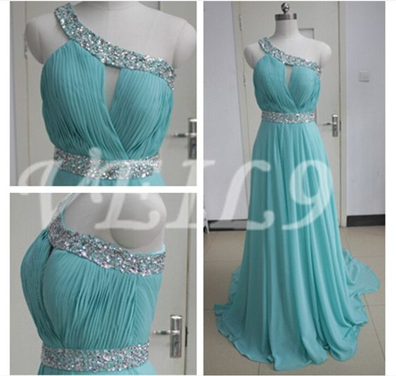 One Shoulder Chiffon bridesmaid Gown Tiffany Blue beaded chiffon wedding party bridal graduation prom dresses long Turquoise beach dress by VEIL9 on Etsy https://www.etsy.com/listing/203086600/one-shoulder-chiffon-bridesmaid-gown