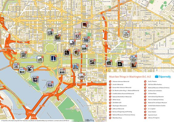 Download A Washington DC Tourist Map In PDF Showing Top Sights - Washington dc mall map pdf