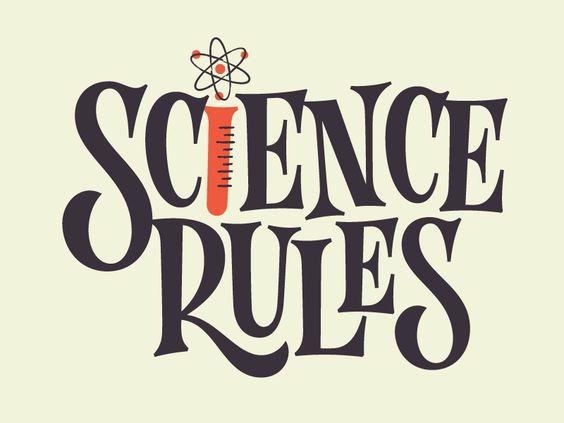 Science Rules retro logo design