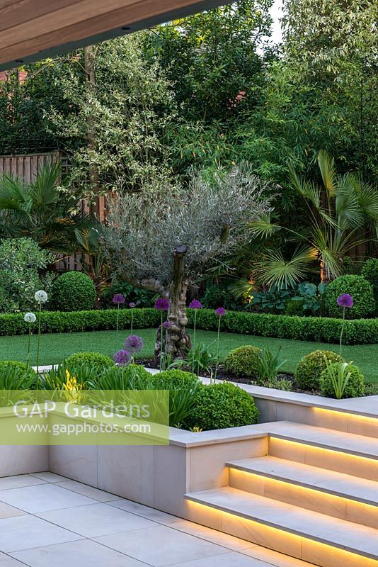 Town Garden Designed By Kate Gould Lit At Night Lighting Illuminates The Steps Leading From Sunken Terrace To Country Garden Decor Garden Design Garden Steps