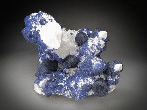 Mineral Specimen Blue Fluorite on Quartz Crystals Huanggang Mine Hexigten Banner Ulanhad League Inner Mongolia A. R. China For Sale