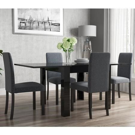 Flip Top Dining Table In Black High, Round Black High Gloss Dining Table