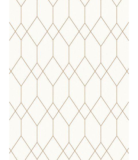 Geometric Diamond Wallpaper White Copper Esprit 32792 1 In 2020
