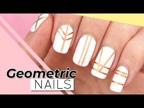 Geometric Nail Art Easy Striping Tape Nails For Beginners Youtube In 2020 Geometric Nail Nail Art Stripes Tape Nail Art