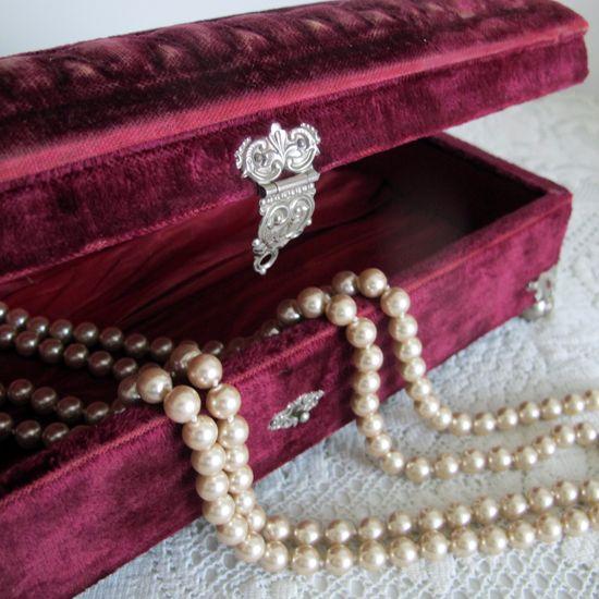 Vintage Velvet Jewelry Box, $58
