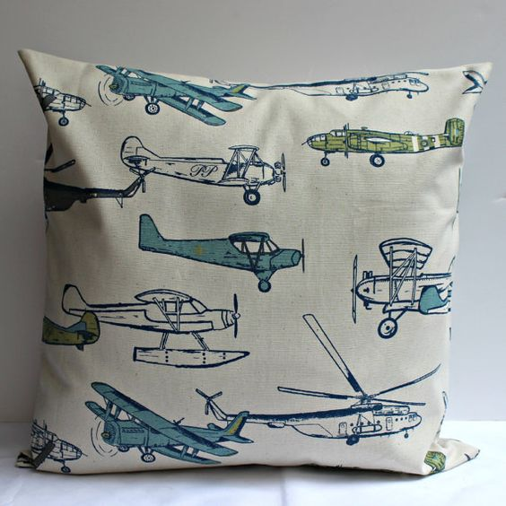 Vintage Air Plane Pillow Cover- 18 Inch - Blue, Green, Grey and Natural - Perfect For Aviation Lovers Everywhere  For lijahs room!!!