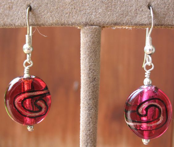 Women's Earrings with Red, Black & Bronze Dichroic Swirls on a Sterling Silver Ear Wire