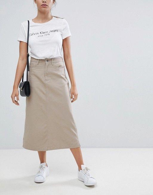 Calvin Klein Jeans Jupe trapèze mi longue | Jean calvin
