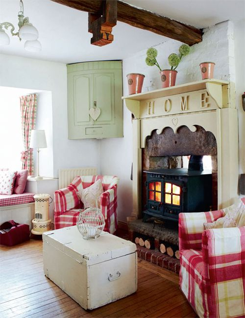 English country cottage. The mantel is kinda fun!
