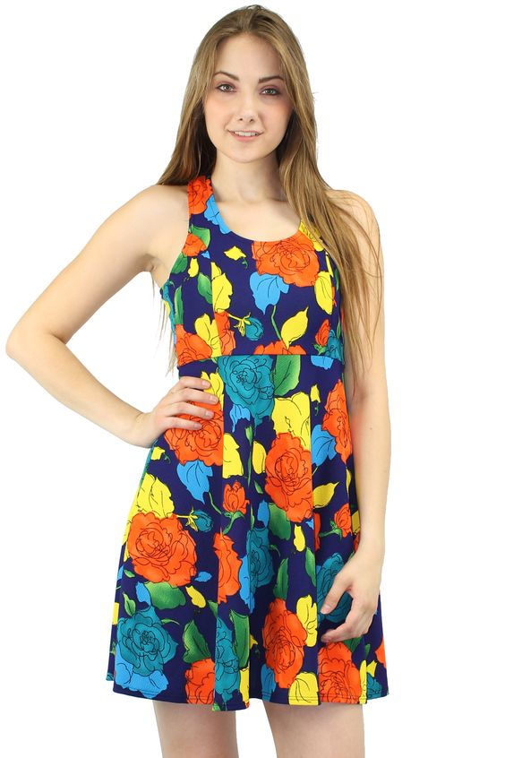 Dare to be fabulous dress. A floral dress featuring bold colors. Round neckline. Sleeveless.